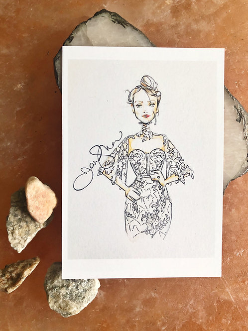 Lace Bridal Postcard- mini print SET of 6