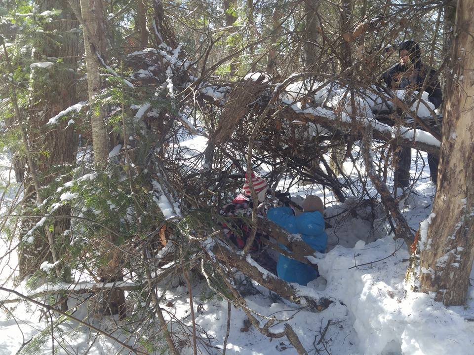 snow shelter building
