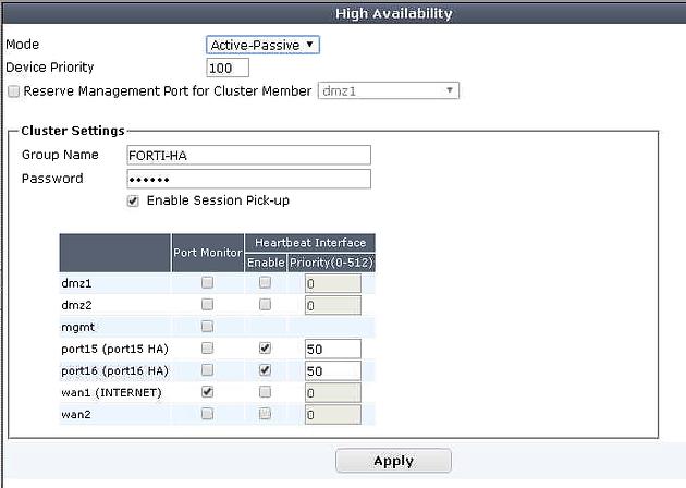Implementación de Cluster HA con Firewalls Fortigate