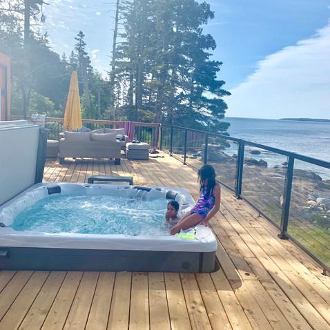 Views and hot tub