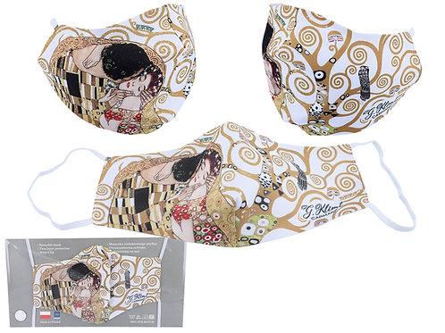 Maseczka ochronna - G. Klimt. Pocałunek kremowe tło