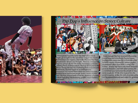Layout from a zine I co-authored about Hip Hop and street culture Adobe Photoshop and Indesign 2019