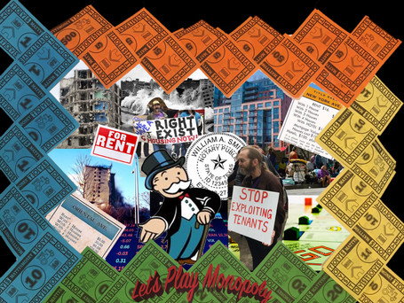 Commentary on how Monopoly normalizes unfair renting practices Adobe Photoshop 2020
