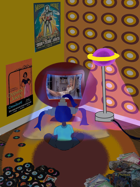 Expository scene for my current project 'Planet Hollywood'. Featuring Nebula, the protagonist, in her room watching T.V. Adobe Photoshop  2021