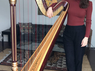 Lovely Harpist books new commercial!