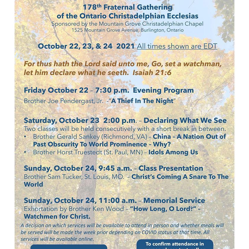 Ontario 177th Fall Gathering