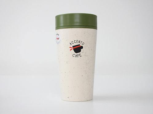 Reusable Cup 12 oz- White and green