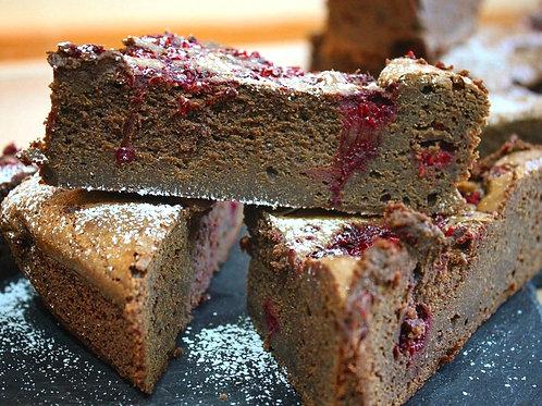 Brownie with raspberries- full cake