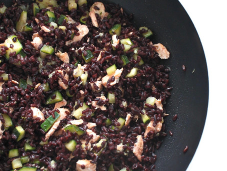 Venere Rice with salmon and courgettes