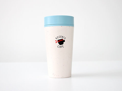 Reusable Cup 12 oz- white and blue