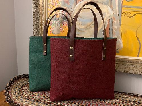Winter colours Herringbone tweed shoulder bag