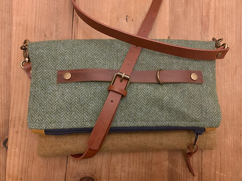 Foldover Crossbody bag, handbag tweed handbag,