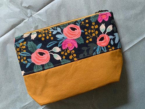 Black and mustard floral bag
