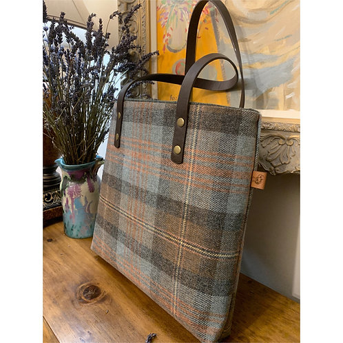 Blue & Brown checked tweed tote handbag. Gift for a women