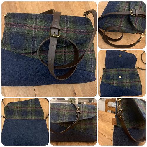 Blue Tweed Crossbody Handbag/ Christmas Gift. Leather Handles