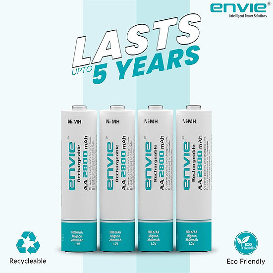 Envie AA Rechargeable Batteries   High Capacity Ni-MH   2800 mAh