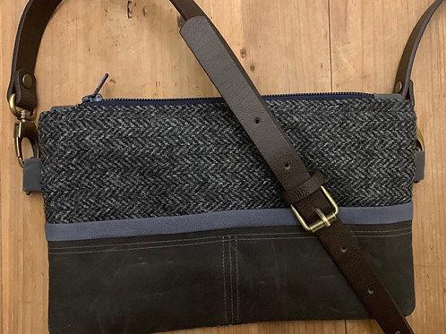 Herringbone Tweed Crossbody Bag, Waxed Canvas, Oilskin bag, Vegan Leather.