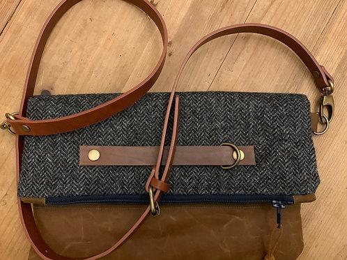 Foldover, Clutch Bag, Crossover bag waxed cord, Tweed, Herringbone, Vegan Leathe