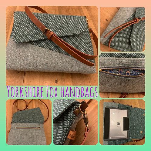 Crossbody Green Tweed Handbag/ Over the Shoulder Handbag / Christmas Gift For He