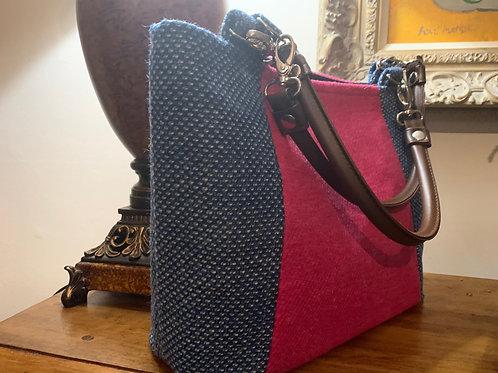 Pink and Blue Large Tweed Tote Shoulder Bag, shoulder bag, Work bag, casual bag,