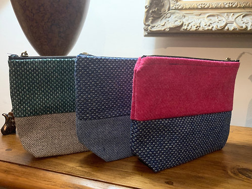 Tweed Zipper Pouch. Makeup bag/purse, shoulder bag, Work bag, casual bag, wool b