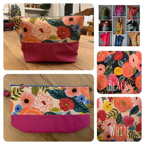 Flower Makeup Bags/ Craft Bag/ Small Clutch Bag/ Knitting Bag/ Purse / Flower Pu