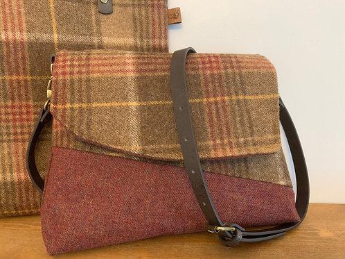 copper and brown tweed handbag, shoulder bag, Gift for a woman