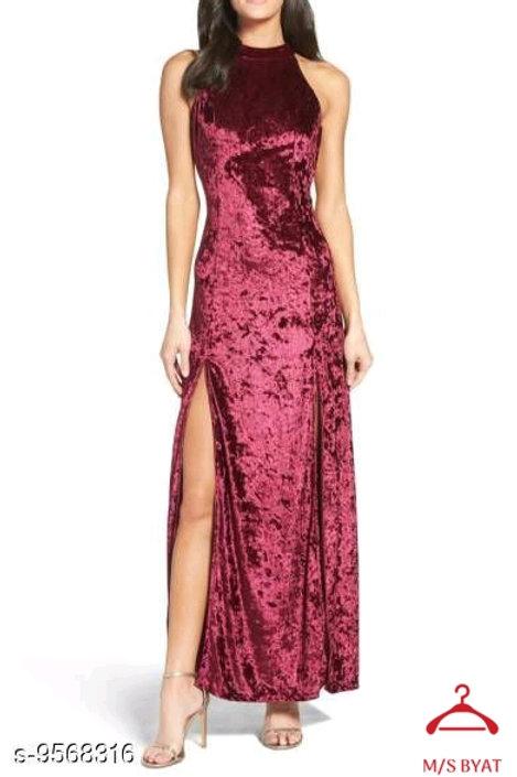 Maroon Velvet  Slit Dress