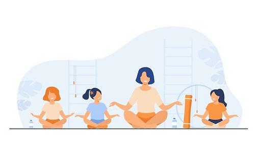 teacher-kids-sitting-yoga-pose-isolated-flat-vector-illustration-cartoon-instructor-childr
