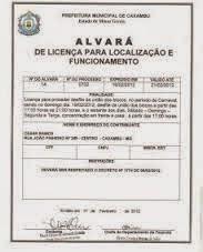 ALVARÁ DE LICENÇA PETSHOP