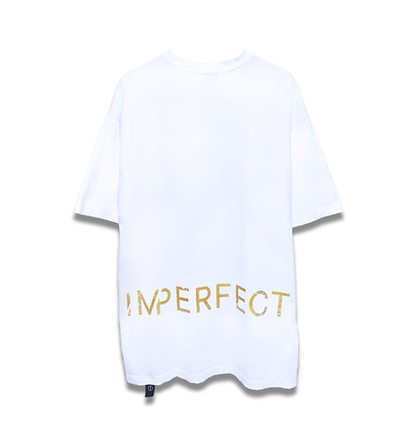 GOLD DISTRESSED LOGO OVERSIZED TEE (WT)