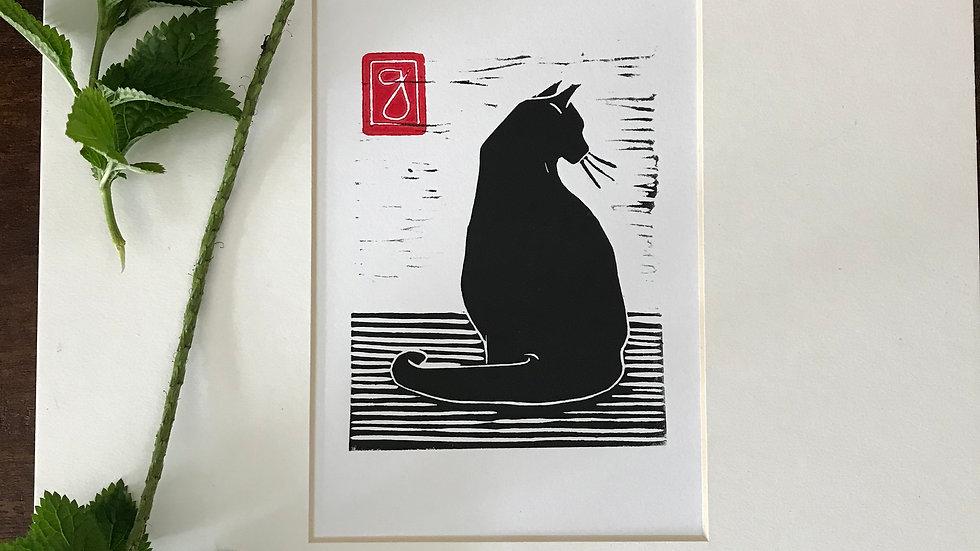 Black Cat Sitting Lino print - Small Art, Cat Art - Signed