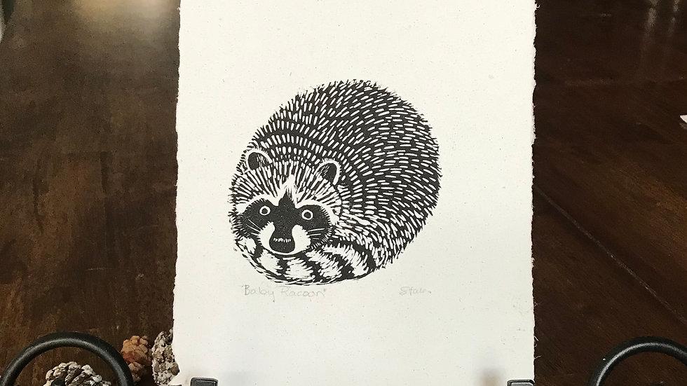 Baby Raccoon Lino print - Small Art, Raccoon Illustration - Sign