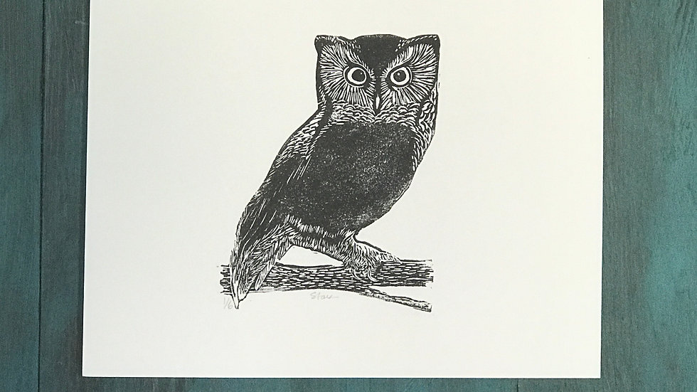 Tiny Owl Lino print - Small Art, Screech Owl Illustration - Signe