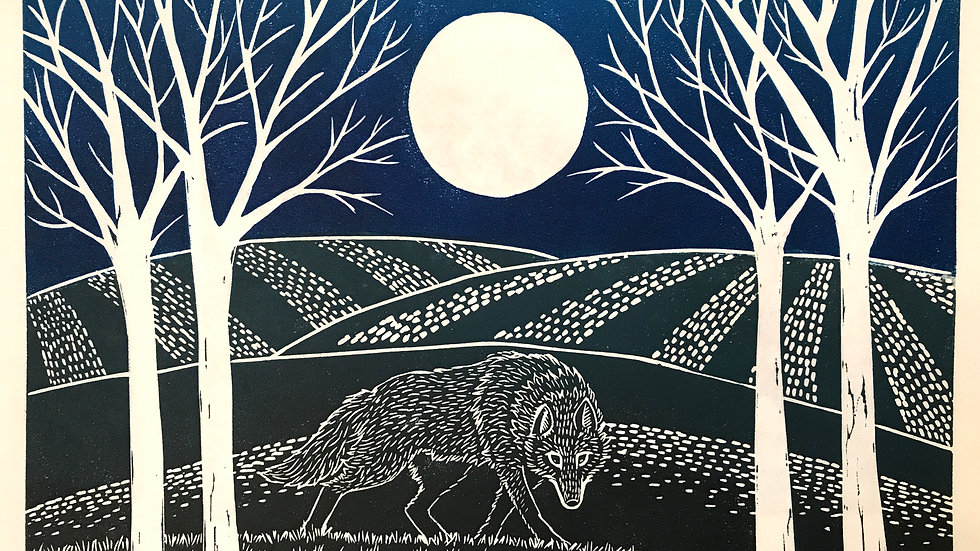 Wolf Illustration Lino Print - Original Art - Signed