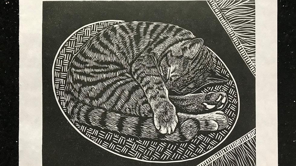Afternoon Nap Lino Print - Original Art - Signed
