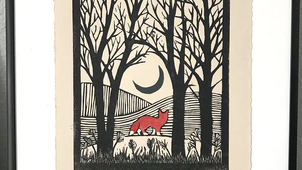 Red Fox in the Woods - Whimsical Lino Print - Signed
