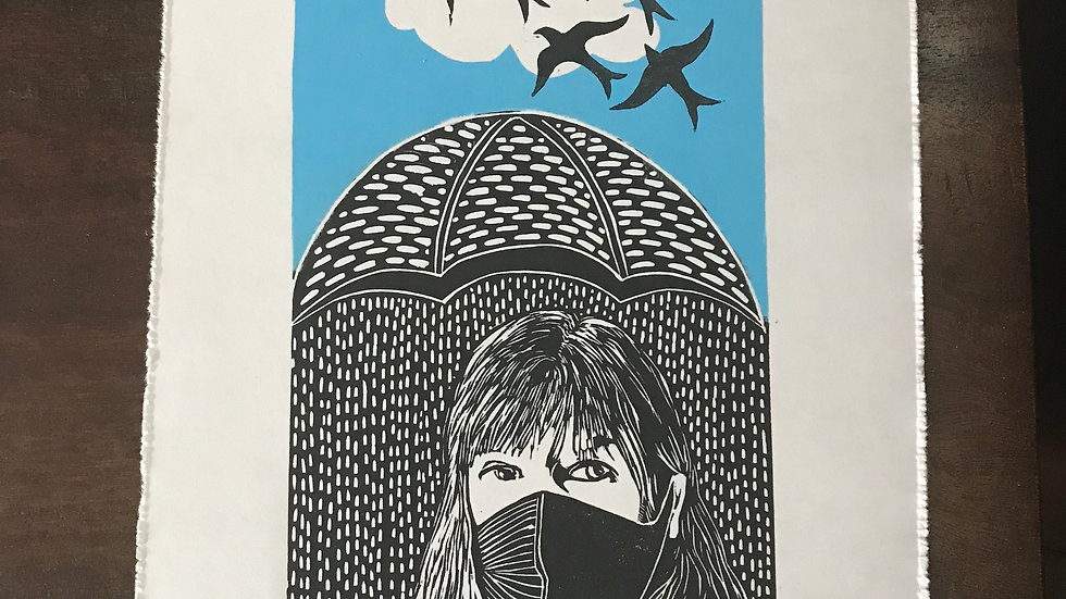 """Weather Report"" Modern Portrait Art Lino Print -Signed, Limited Edition"