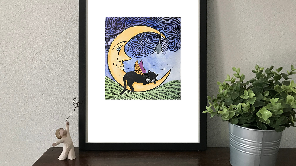 Black Cat on Moon - Whimsical Lino Print -Signed