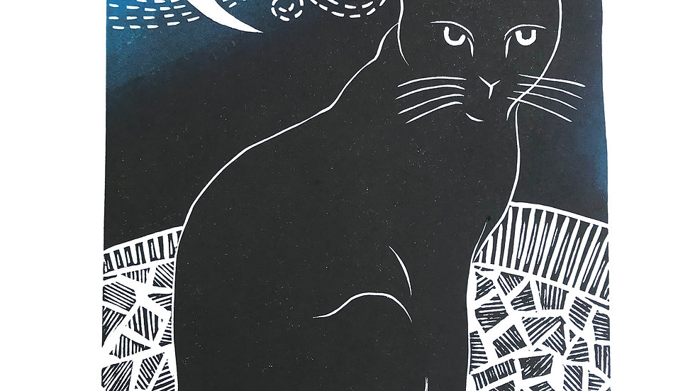 Midnight Lino Print - Original Black Cat Art - Signed