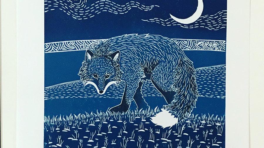 Moonlight Hunter -Blue Fox Illustration Lino Print - Original Art - Signed