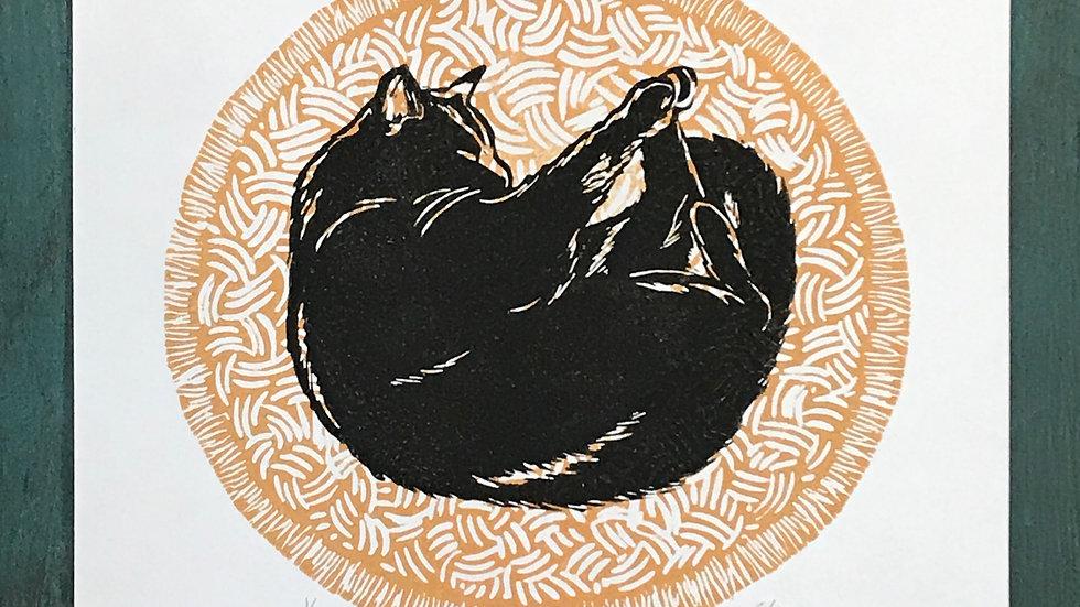 Black Cat on Gold Rug