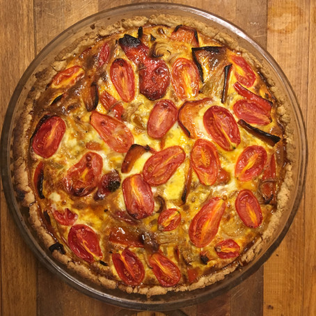 Charred Sweet Red Pepper Quiche with Cherry Tomatoes