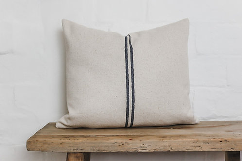 Grey Grainsack Stripe Cushion - Maison Brocante's French Linen