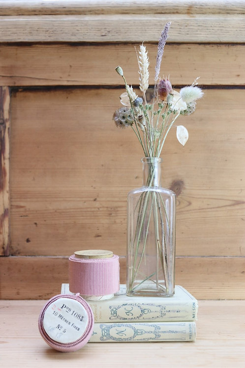 Vintage Bottle ~ Dried Flowers Posey