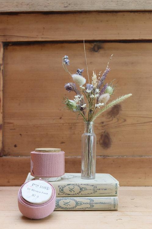 Vintage Bottle ~ Dried Flower Posy