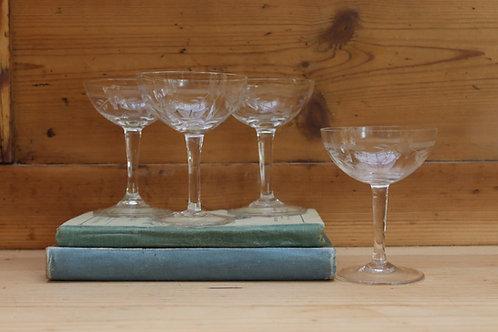 Set of 4 Vintage Champagne Glasses