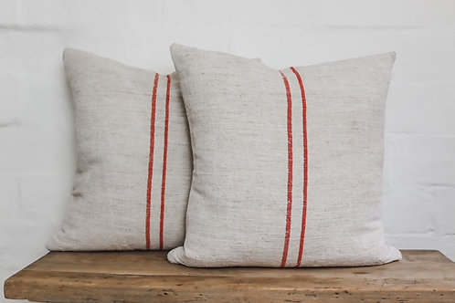 Vintage Grainsack Red Stripped Square Cushion