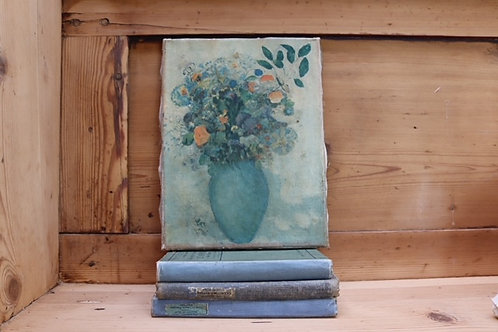 Vintage Green Floral Oil on Canvas Painting
