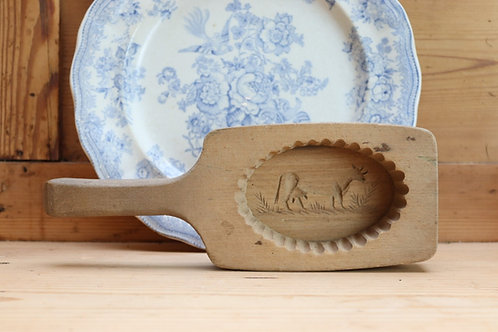 Vintage Rustic Wooden Butter Mould/Pat